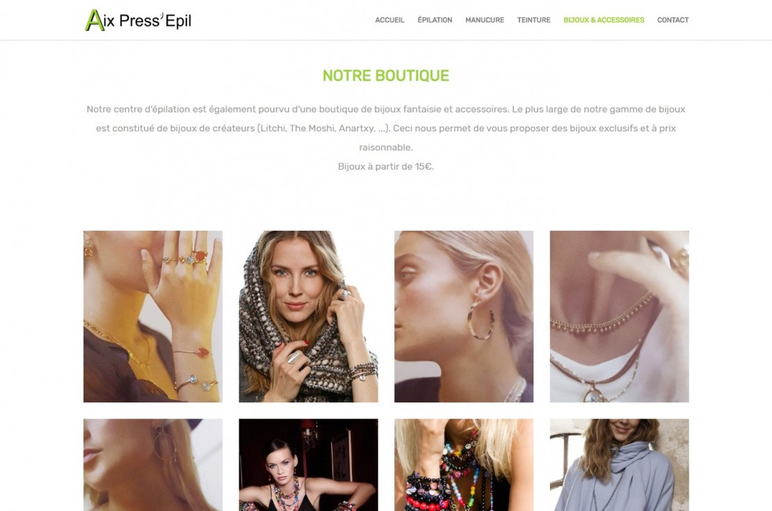 Création de site pour Aix Press'Epil