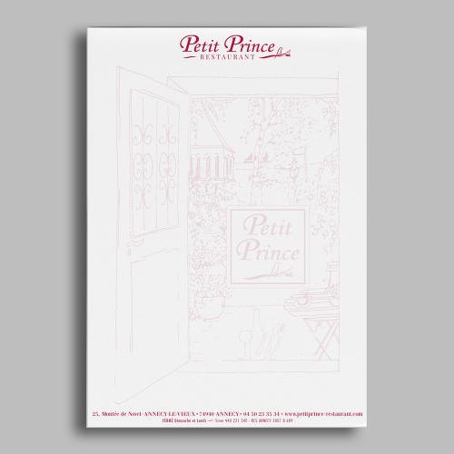 Tête de lettre pour personnaliser le menu du jour ou pour facture - Le Petit Prince / C+ Communication