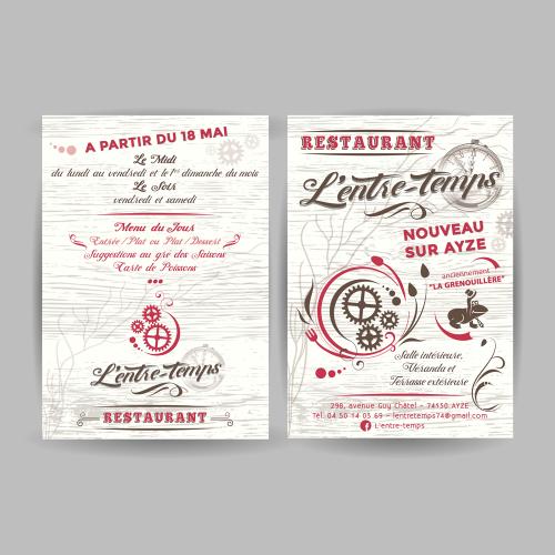 Flyer A5 recto verso pour l'ouverture du restaurant - L'entre-Temps / C+ Communication