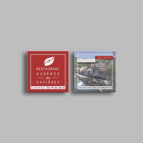 Carte commerciale carrée - Auberge de Savières / C+ Communication