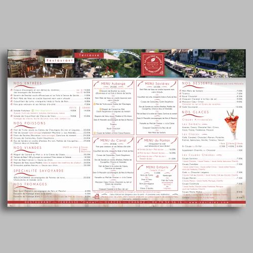 Carte de menu extérieure - Auberge de Savières / C+ Communication