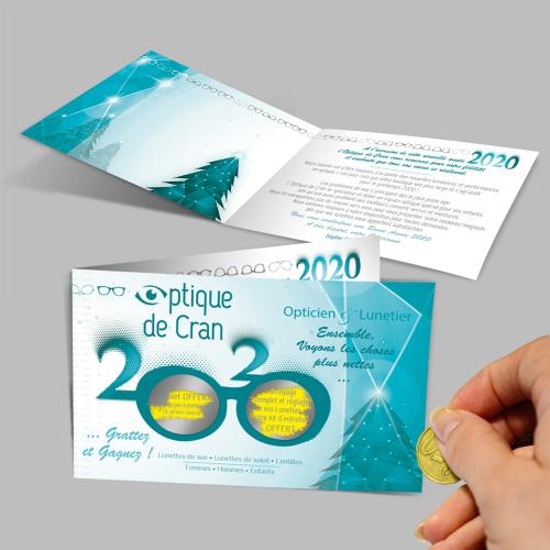 Carte de vœux à gratter - Optique de Cran / C+ Communication