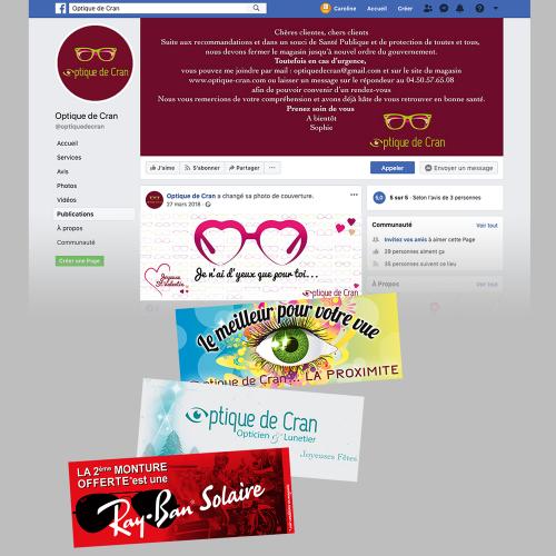Photos de couverture Facebook & Facebook Ads - Optique de Cran / C+ Communication