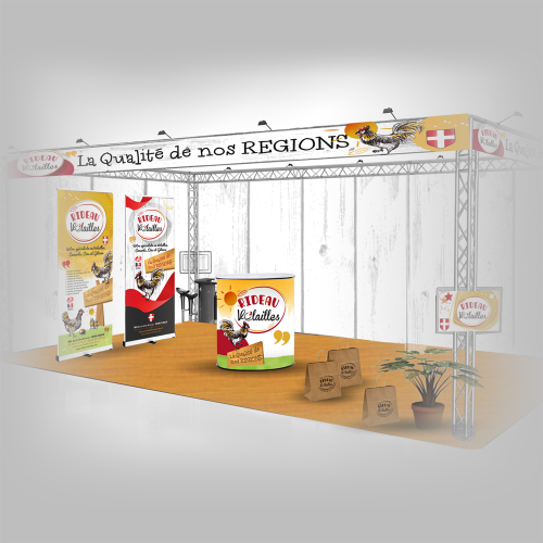 Habillage stand salon Alpin maquette - Rideau Volailles / C+ Communication