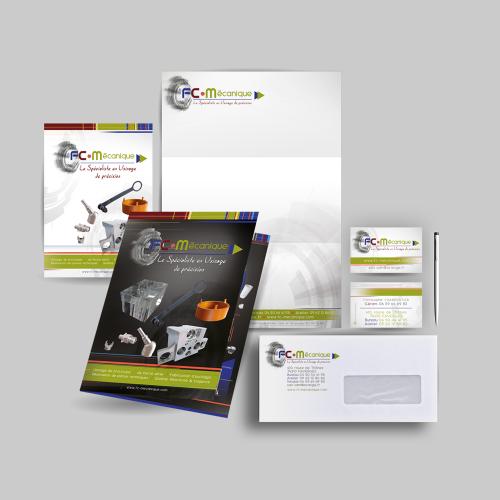 Création de l'identité visuelle d'une entreprise d'usinage de précision : print, événementiel et web