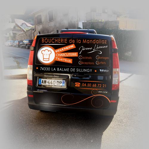 Habillage auto (vue arrière) - Boucherie de la Mandallaz / C+ Communication
