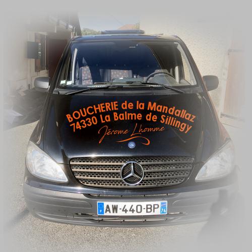 Habillage auto (vue avant) - Boucherie de la Mandallaz / C+ Communication