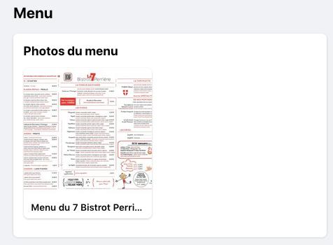 Fonctionnalité Menu sur Facebook