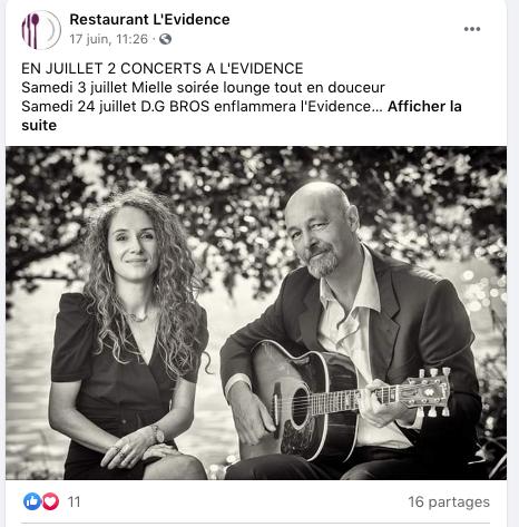 Présentation d'un évènement : Restaurant L'Évidence