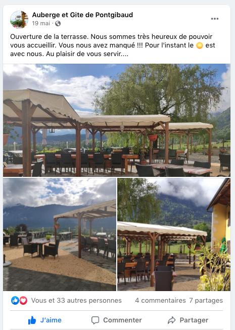 Ouverture de la Terrasse restaurant la Ferme de Pontgibaud